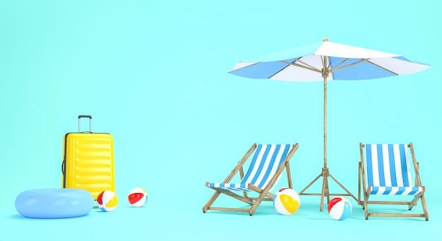 Projeto de férias de verão para o conceito de viagens. renderização 3d