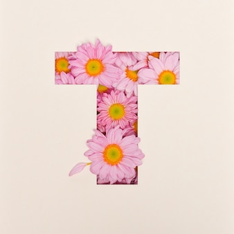 Projeto de fonte, fonte do alfabeto abstrato com flor rosa, tipografia de flor realista - t