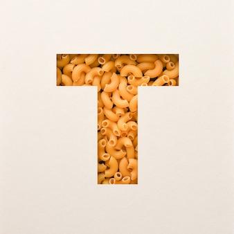 Projeto de fonte, fonte do alfabeto abstrato com macarrão de cotovelo, tipografia alimentar realista - t