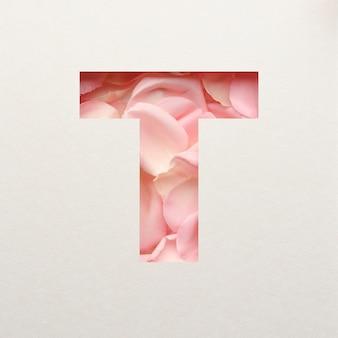 Projeto de fonte, fonte do alfabeto abstrato com pétalas de rosa rosa, tipografia de flores realista - t