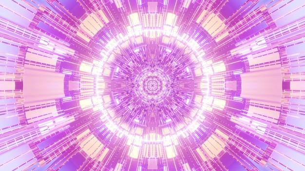 Projeto de fundo visual de ilustração 3d 4k uhd abstrato com células circulares geométricas formando ornamento fractal em cores neon rosa e roxo