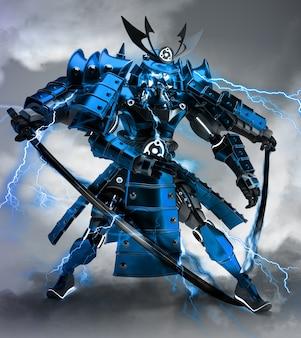 Projeto de guerreiro robô samurai renderização em 3d