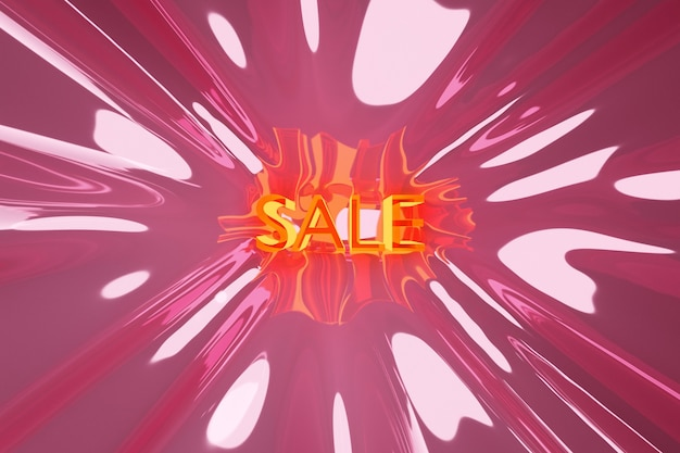 Projeto de ilustração 3d de um banner em uma fita rosa para mega grandes vendas com a venda de inscrição.