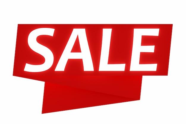 Projeto de ilustração 3d de um banner em uma fita vermelha para mega grandes vendas com a venda de inscrição.