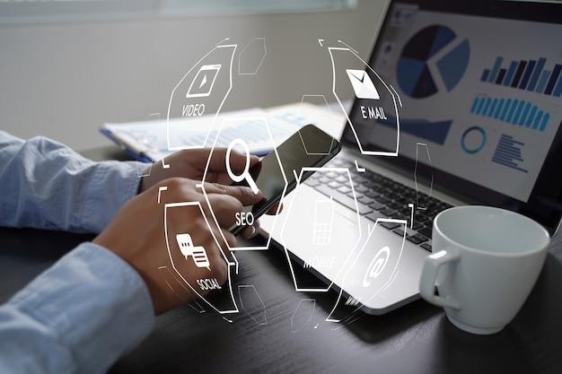 Projeto de inicialização do marketing digital media search engine seo