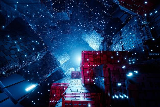 Projeto de luzes brilhantes de cubo de néon techno futurista de ficção científica