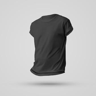 Projeto de maquete de camiseta preta em branco com sombras no corpo sem um homem. vista frontal. modelo para publicidade e apresentação de roupas.