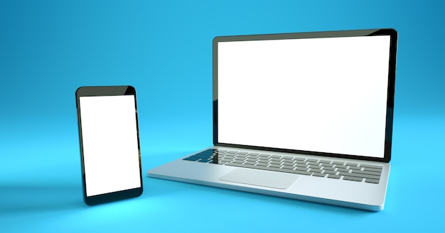 Projeto de maquete de smartphone e laptop em tela cheia. conjunto de dispositivo digital