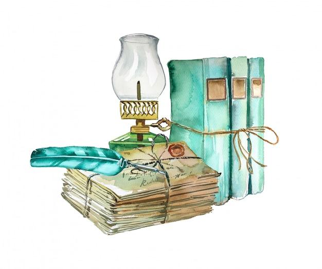 Projeto de material escolar vintage pintado à mão em aquarela. livros antigos, lanterna velha e pilha de ilustração de letras. conceito de educação.