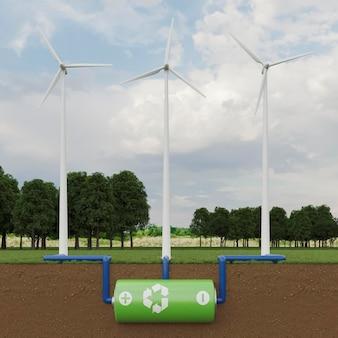 Projeto de moinho de vento 3d para economia de energia