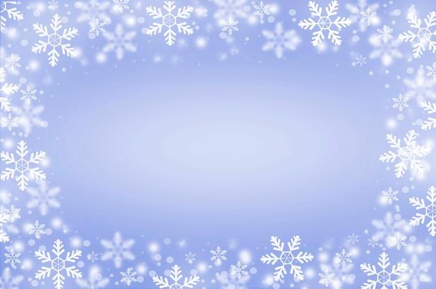 Projeto de moldura de neve em fundo azul claro desfocado