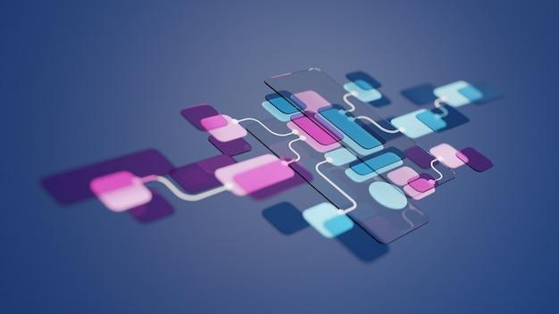 Projeto de protótipo de desenvolvimento de aplicativo de fluxograma de interface do usuário ux. conceito de experiência do usuário.