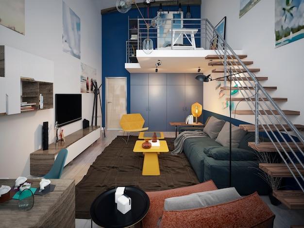 Projeto de quarto de adolescente em estilo loft com sofá e unidade de tv e escada para o segundo nível.