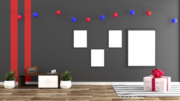Projeto de quarto de decorações de natal. renderização 3d