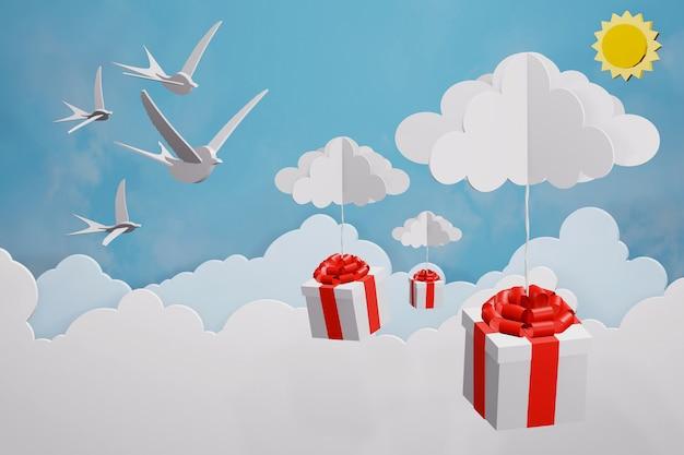Projeto de renderização 3d, estilo de arte de papel de feliz ano novo 2019 e caixa de presente caindo
