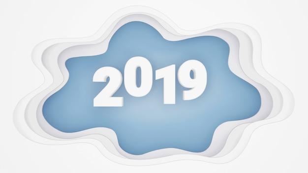 Projeto de renderização 3d, estilo de arte de papel de feliz ano novo 2019