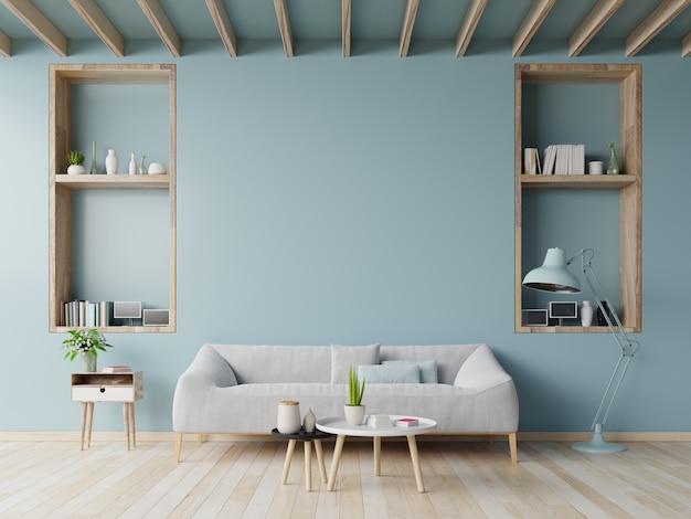 Projeto de sala de estar com sofá, mesa na parede azul e piso de madeira, renderização em 3d