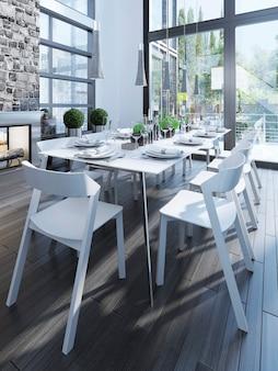 Projeto de sala de jantar com móveis brancos.