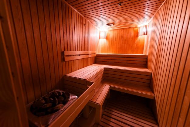 Projeto de sauna de madeira.