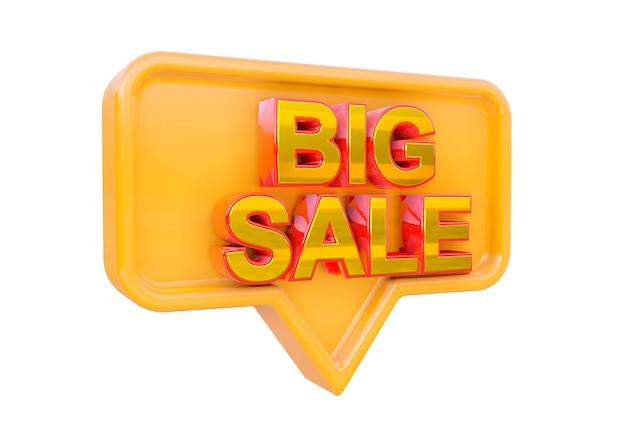 Projeto de selo promocional de grande venda isolado. banner de campanhas de marketing para lojas e shopping. renderização 3d