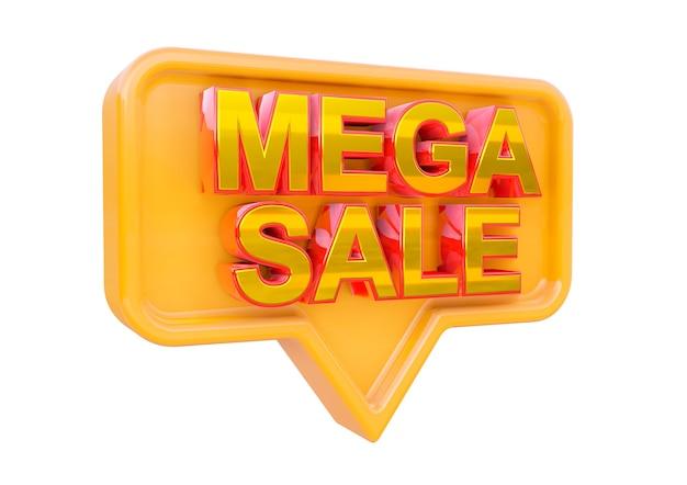 Projeto de selo promocional de mega sale isolado. banner de campanhas de marketing para lojas e shopping. renderização 3d