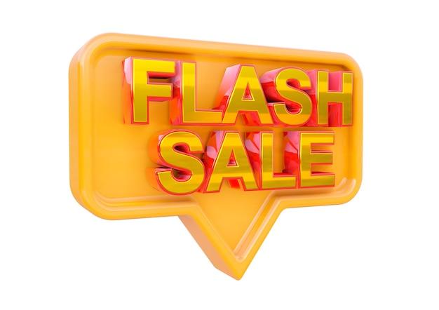 Projeto de selo promocional de venda flash isolada. banner de campanhas de marketing para lojas e shopping. renderização 3d