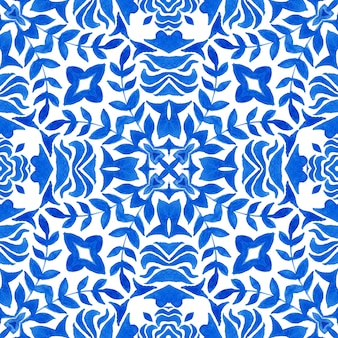 Projeto de tecido de azulejos orientais de azulejos de padrão aquarela floral azul lindo sem emenda. ornamento turco com folhas e flores. estilo espanhol e português. cerâmica e talheres, estampa folclórica.