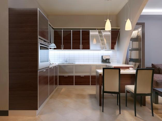 Projeto de tendência de cozinha de painel de fachada zebrano