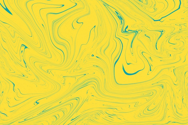 Projeto de textura de mármore de tendência de cor azul pantone amarelo vívido, fundo de ondas fluidas de mármore de pintura líquida abstrata.