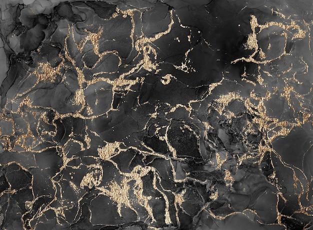 Projeto de textura de marmoreio de ouro para cartaz, folheto, convite, livro de capa, catálogo. técnica de tinta de álcool de fundo abstrato de luxo preta e dourada. pintura de arte fluida.