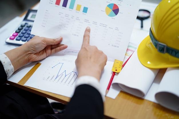 Projeto de trabalho do arquiteto ou do coordenador que explica com gráfico no escritório, conceito da conta da construção.