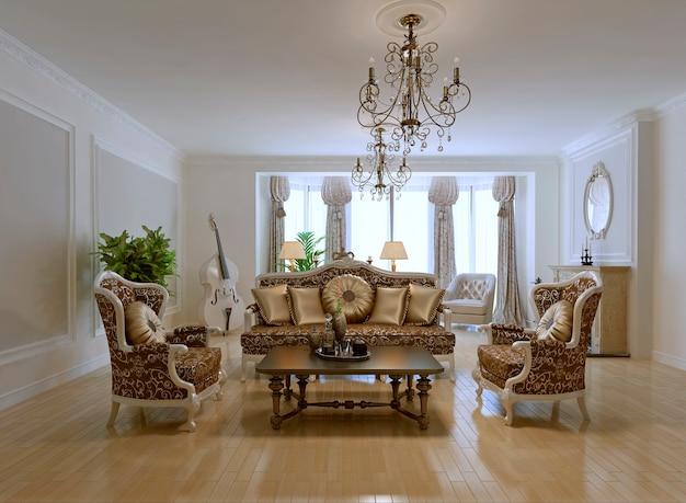 Projeto de uma sala de estar rica