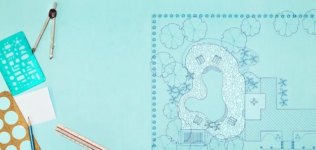 Projeto do arquiteto paisagista projeto plano do quintal para villa