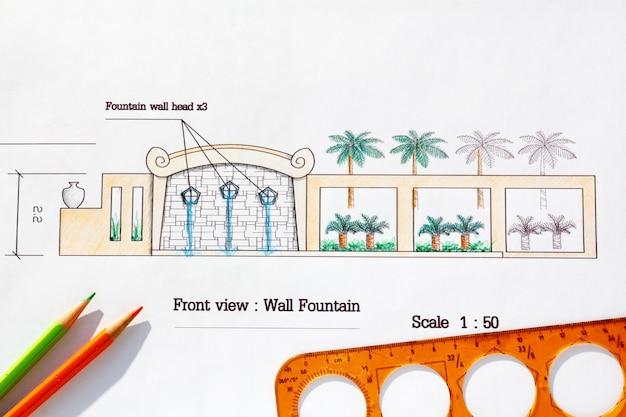 Projeto do arquiteto paisagístico fonte de parede moderna em estilo asiático.