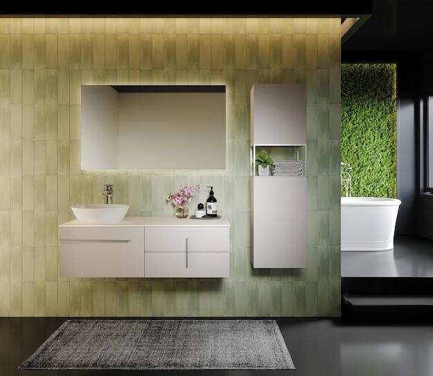 Projeto do banheiro com armário e espelho, renderização 3d