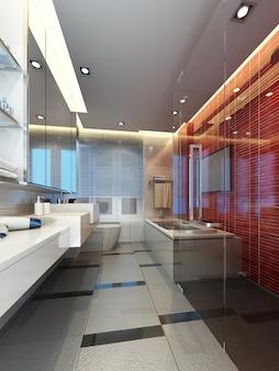 Projeto do banheiro interior. renderização 3d