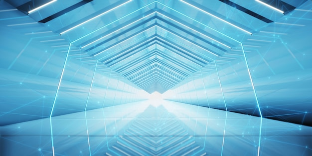 Projeto do corredor do túnel futurista.