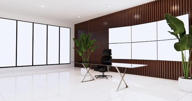 Projeto do escritório do ceo com grande monitor de tv na sala de parede de madeira, mesa e cadeira de chefe. renderização 3d