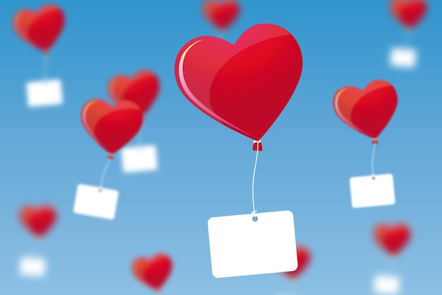 Projeto do plano de fundo do dia dos namorados com balões de coração e etiquetas em branco
