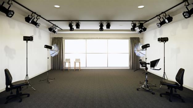 Projeto do quarto branco do estúdio do quarto pano de fundo para programas de tv. renderização 3d