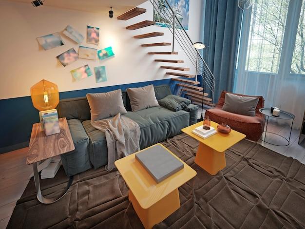 Projeto do quarto de um adolescente com um sofá azul da moda e duas mesas de design amarelas.