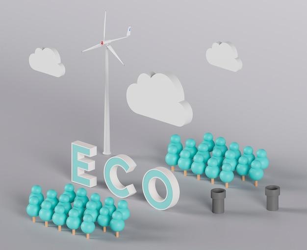 Projeto eco 3d para o meio ambiente com moinho de vento