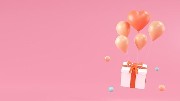 Projeto feliz aniversário com caixa de presente, balão em blackground rosa. renderização 3d