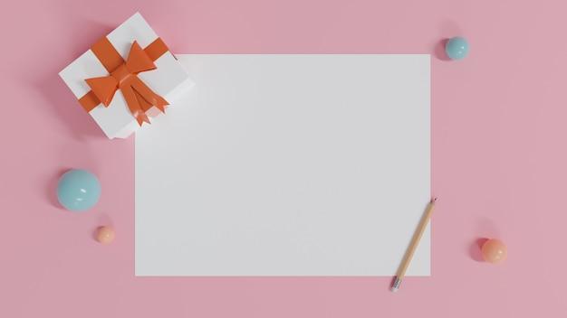 Projeto feliz aniversário com caixa de presente e papel branco. renderização 3d