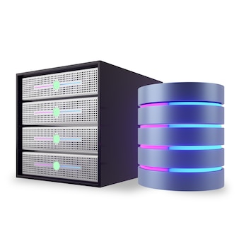 Projeto hosting server rack container com ícone de banco de dados cilindro luz brilhante cor rosa azul. imagem da ilustração 3d.