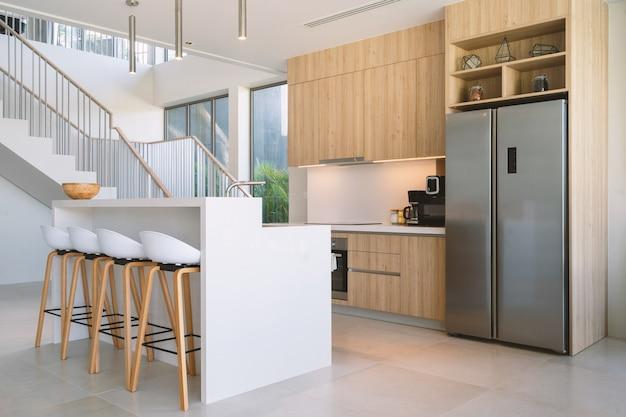 Projeto interior da cozinha de uma villa
