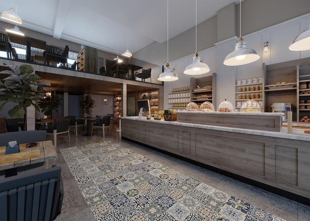 Projeto interior de restaurante, piso de cerâmica