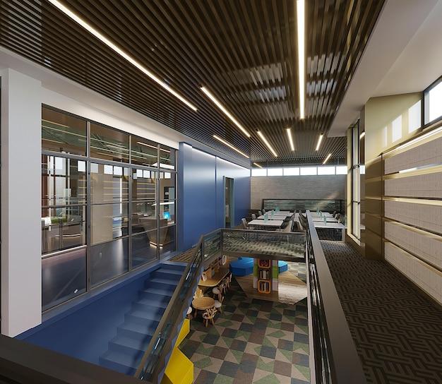 Projeto interior de um prédio moderno de biblioteca, renderização 3d