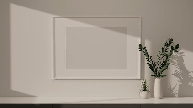 Projeto interior moderno de casa simulada moldura na parede branca e mesa de mármore com espaço de cópia e vaso de plantas