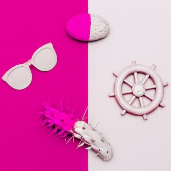 Projeto minimalista das vibrações tropicais do mar. acessórios fashions. oculos escuros